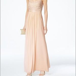 Adrianna Papell Beaded Chiffon Gown in Champagne